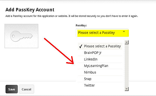 PassKey Help - Manage Account - PassKey Accounts Selection Menu